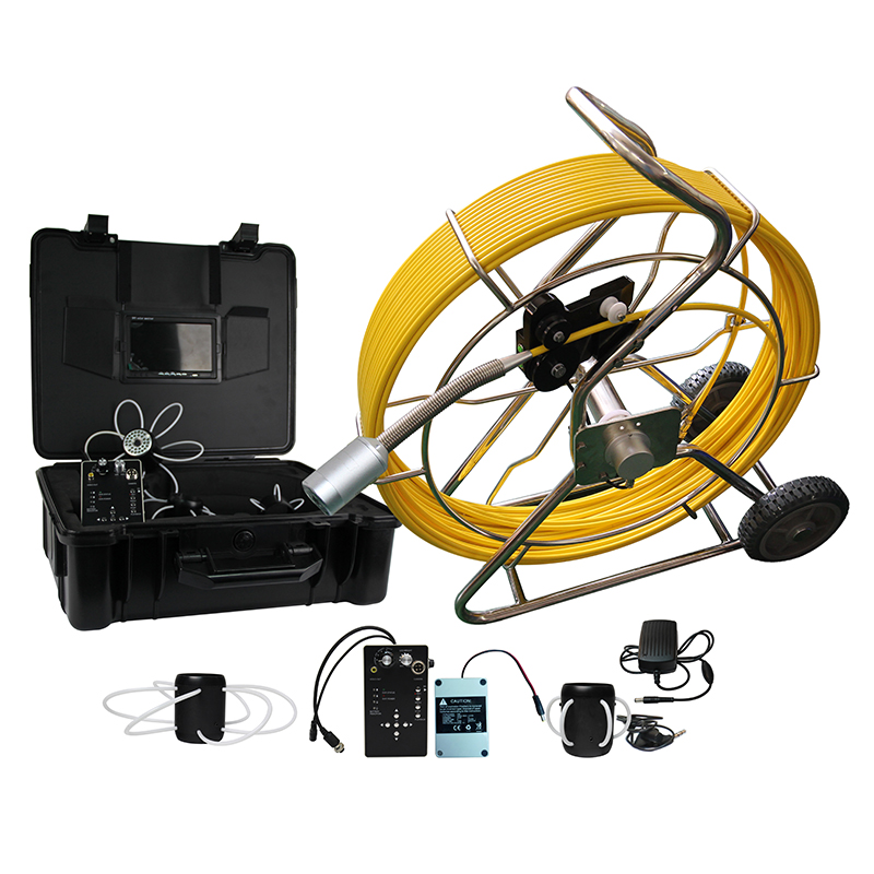 120m cable wheel with 512 hz sonde built in camera for Plumbing detector